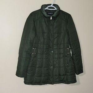 LIZ Claiborne Hunter Green Puffer Coat Sz L